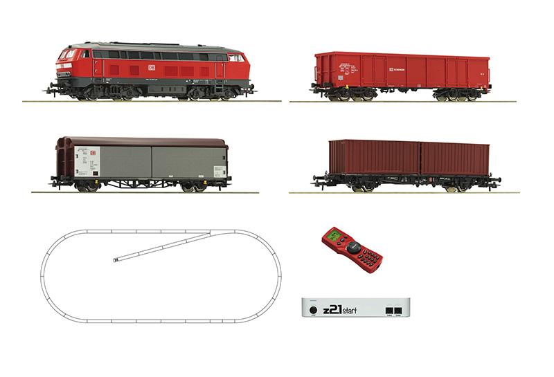 Roco 51312 z21 start digitális kezdőkészlet multiMaus-szal, BR 218 dízelmozdony tehervagonokkal, DB AG VI