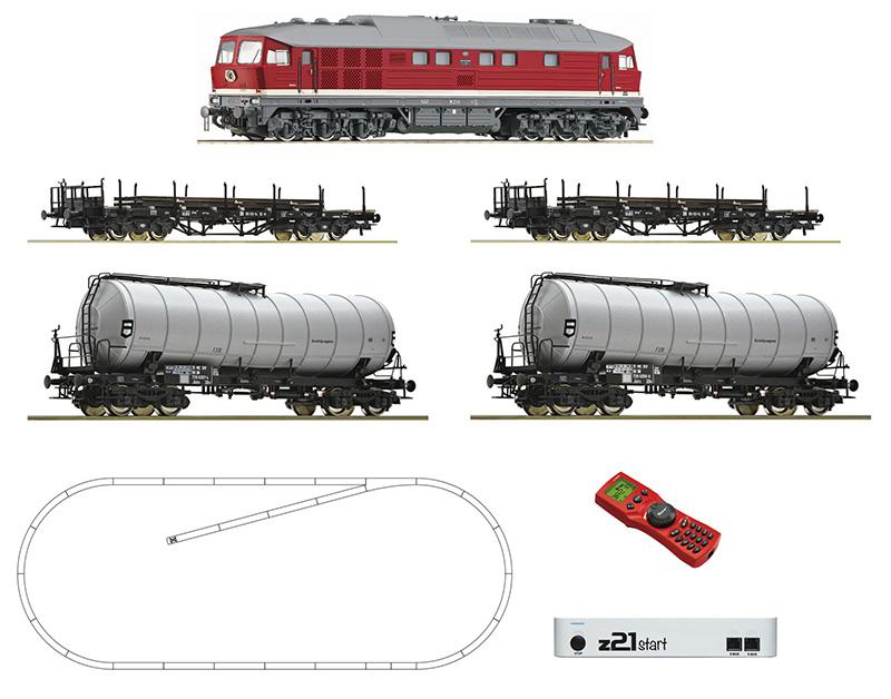 Roco 51327 z21 start digitális kezdőkészlet multiMaus-szal, BR 142 003-3 Ludmilla dízelmozdony tartálykocsikkal, pőrekocsikkal, DR IV