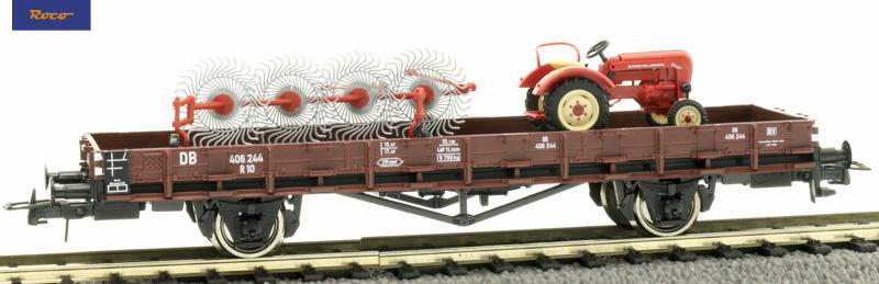 Roco 76988 Pőrekocsi rakoncákkal R10, Porsche Traktor rakománnyal, DB III