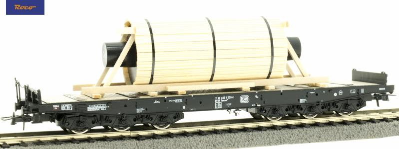 Roco 76826 Nehézteherszállító kocsi Samms, acélhenger rakománnyal, DB IV