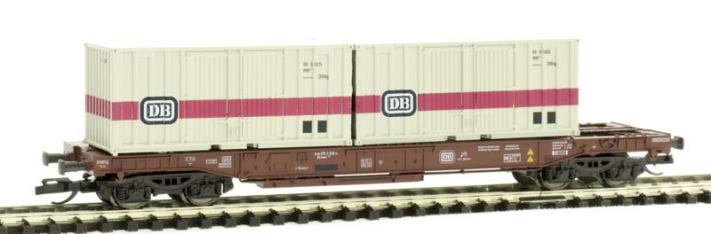 Tillig 18154 Konténerszállító zsebeskocsi Sdkms 707, DB-s konténerekkel, DB IV