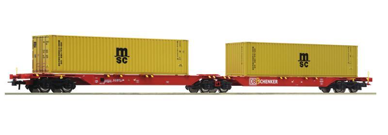 Roco 76630 Iker-konténerszállító kocsi Sggmrs, MSC konténerekkel, DB Schenker, DB AG VI