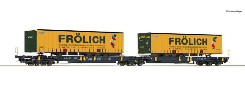Roco 76431 Iker-zsebeskocsi Sdggmrs T2000, Frölich félpótkocsikkal, Wascosa VI