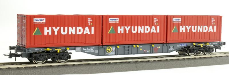 Roco 76932 Konténerszállító kocsi Sgns, Hyundai konténerekkel, Ermewa VI