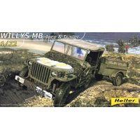 Heller 79997 Willys MB Jeep utánfutóval