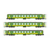 """Arnold HN4209 3db Személykocsi """"Schlieren"""", GySEV, livery green/yellow, (2. BR Személykocsi , félpoggyász Személykocsi)"""