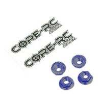 Schumacher CR035 CORE RC - Serrated Alu M4 Nuts kék  pk 4