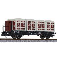 Liliput 235140 Tartályszállító pőrekocsi fékházzal BTms 55, négy Ekrt 231 von Haus zu Haus tartállyal DB III
