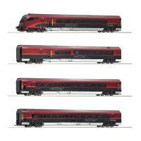 Roco 74084 Kocsi szett vezérlőkocsival Railjet, ÖBB VI, 1. készlet, funkciódekóderrel, világítással