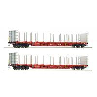 Roco 76141 Farönkszállító pőrekocsi szett Rnoos-uz, Rail Cargo Austria, ÖBB V-VI