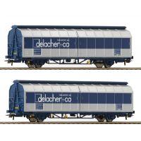 Roco 76877 Eltolható oldalfalú kocsiszett Himrrs, 'delacher + co.', ÖBB VI