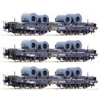 Roco 76957 Nehézteherszállító kocsiszett Samms, acélhenger-rakománnyal, DB IV