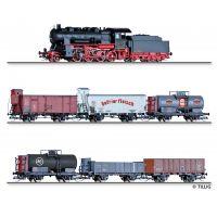 Tillig 01456 Vonat szett BR 56.20 gőzmozdony teherkocsikkal, DRG/PKP/CSD/NS/ETAT II