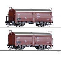 Tillig 01032 Teherkocsi készlet, eltolható tetejű/oldalfalú vagonok Kmmgks 58, DB III