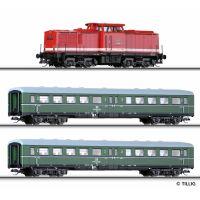 Tillig 01425 Startszett BR 110 056-9 dízelmozdony személykocsikkal, DR IV