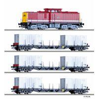 Tillig 01439 Startszett, BR 108 001-9 dízelmozdony Rgs 910 konténerszálítókkal, DR IV