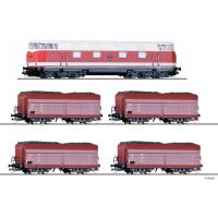 Tillig 01447 Güterwagenset der DR, bestehend aus Dízelmozdony V 180 und vier Önűrítőskocsi OOt, mit Braunkohleladung, Ep. IV