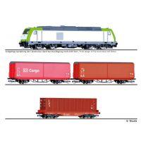 Tillig 01448 Einsteiger-Set Güterzug der DB AG bestehend aus Dízelmozdony TRAXX, zwei Eltolható oldalfalú kocsi Hbis-tt und einem Konténerszállító kocsi Sgmmns mit 40'-Container, Ep. VI