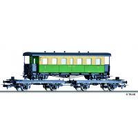Tillig 70037 Pőrekocsi-pár keskenynyomközű személyvagon-rakománnyal (NKB), DB III