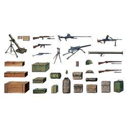 ITALERI 0407 Katonai kiegészítők (aknavető, géppuska, ládák, hátizsákok)