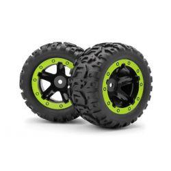 BLACKZON 540094 Slayer ST Wheels/Tires Assembled (Black/Green)