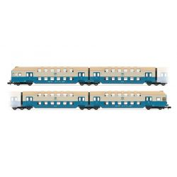 Arnold HN4253 4db double-decker Személykocsi with control cab DR, blue grey livery DC Digital