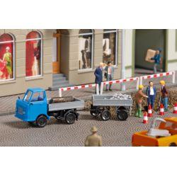 Auhagen 43661 Multicar M22 Platós teherautó pótkocsival