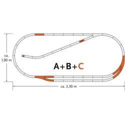 Roco 61102 GeoLine ágyazatos sínkészlet C