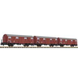 Liliput 260130 Zárt teherkocsiszett fékházzal Glmhs 50, DB III