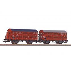 PIKO 58367 Állatszállító vagon szett fékhíddal/fékhíd nélkül, DR III