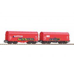 PIKO 58378 Eltolható oldalfalú ponyváskocsi készlet, Caib + Railion NS V, graffitivel