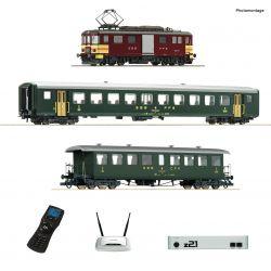 Roco 51338 z21 Digitális kezdőkészlet WLANMAUS-szal, De 4/4 villamos motorkocsi személyvagonokkal, SBB IV-V