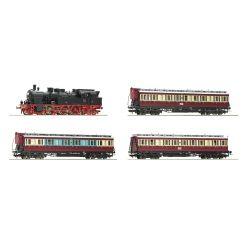 Roco 61478 Vonat szett Ruhr-Schnellverkeh, BR 78 gőzmozdony oldalfellépős személykocsikkal, DRG II, hangdekóderrel