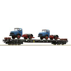 Roco 67303 Pőrekocsi rakoncákkal Rs, Mercedes teherautókkal, DB IV