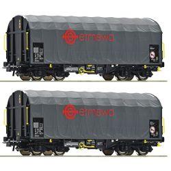 Roco 76039 Eltolható oldalfalú ponyváskocsi készlet Shimmns, Ermewa VI