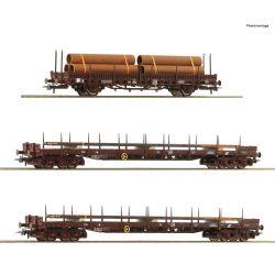 Roco 76053 Acélszállító pőrekocsi szett Rs+ Kbs, ÖBB V