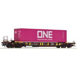 Roco 76234 Konténerszállító kocsi Sdgmns 33/T3, ONE konténerrel, AAE VI