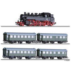 """Tillig 01004 Vonat szett """"DB-Personenzug 50er Jahre"""", BR 86 gőzmozdony személykocsikkal, DB III"""