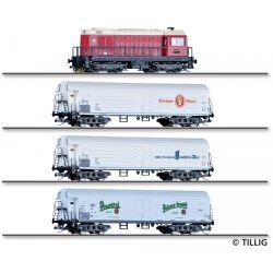 Tillig 01049 Vonatszerelvény, 75 Jahre Nenngröße TT,  BR 107 dízelmozdony hűtőkocsikkal, DR IV
