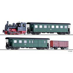 Tillig 01173 Zugset DR, Gőzmozdony BR 99.47, einem Personenwagen KB4i, einem paklikocsi KBD4i und einem gedeckten Güterwagen Gw, Ep. III