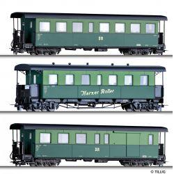 """Tillig 01174 Personenwagenset """"Harzer Roller"""", zwei Personenwagen und einem paklikocsi, Ep. IV -H0m-"""
