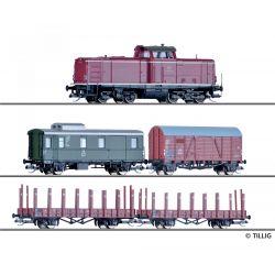 Tillig 01213 Digitális kezdőkészlet, V 100 dízelmozdony tehervagonokkal DB III