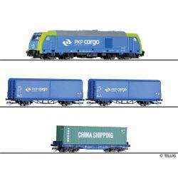Tillig 01400 Kezdőkészlet, TRAXX dízelmozdony tehervagonokkal, PKP VI