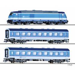 Tillig 01442 Startszett, Rh 762 002-4 TRAXX dízelmozdony személyvagonokkal, CD VI