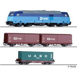 Tillig 01449 Kezdőkészlet, TRAXX dízelmozdony tehervagonokkal, CD Cargo VI