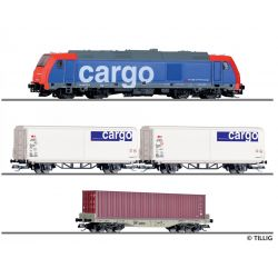 Tillig 01501 Kezdőkészlet, dízel TRAXX mozdony tehervagonokkal, SBB Cargo VI