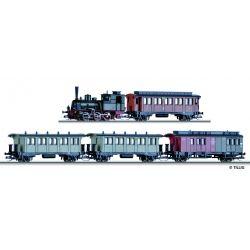 Tillig 01720 Vonat szett, T3 gőzmozdony dekóderrel, személykocsikkal, K.P.E.V. I