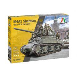 6568S ITALERI M4A1 Sherman gyalogsággal 1:35