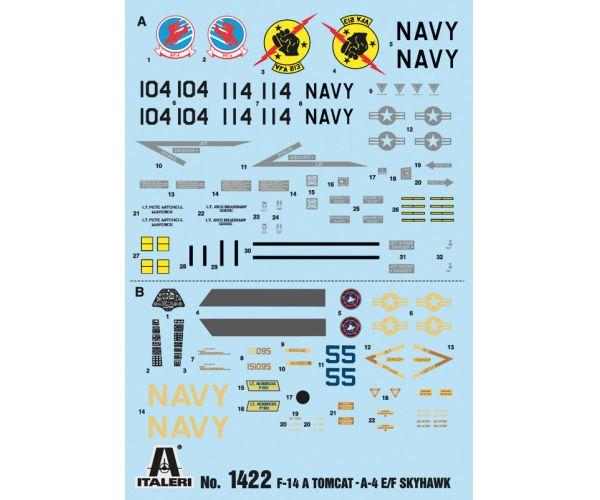 1422S ITALERI F-14A és A-4F  Top Gun repülő 1/72
