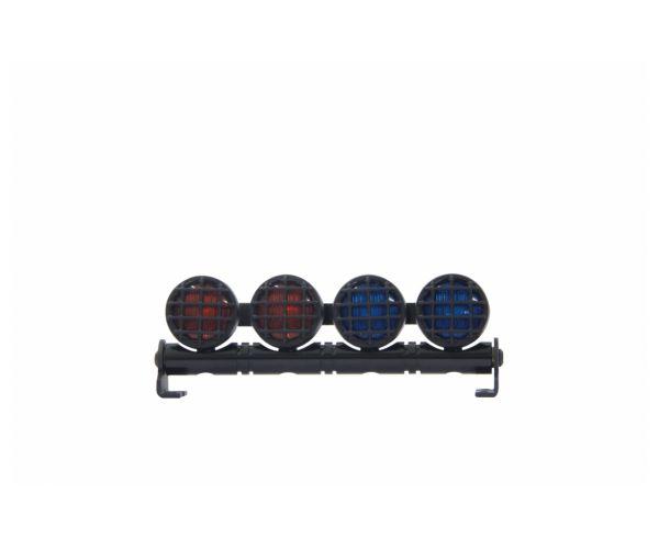 Autós LED Jelzőfény-4 Alu kerek vörös/kék szín
